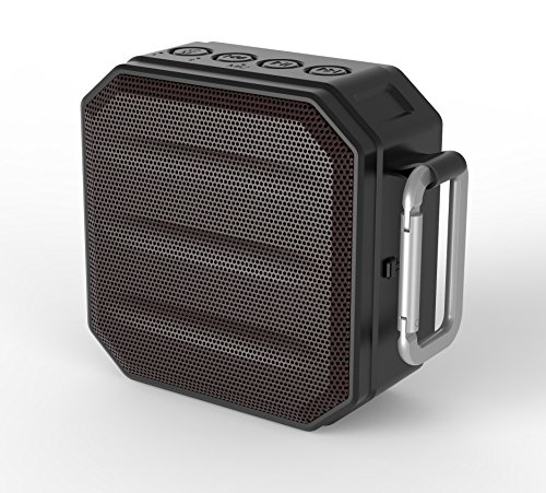Monpos H1 Portable Wireless Outdoor Bluetooth Speaker IPX6 Waterproof with Enhanced Bass Built in Mic. Great for Beach, Shower & Home Use. (H1 Black) ()