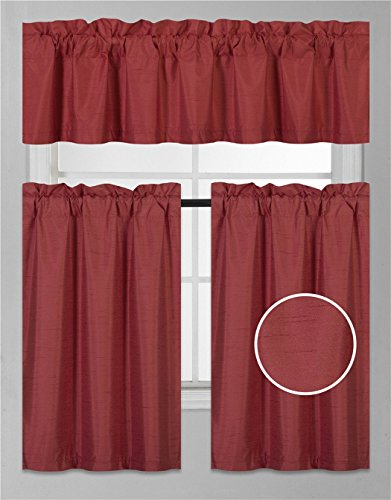 Elegant Home Collection 3 Piece Solid Color Faux Silk Blackout Kitchen Window Curtain Set with Tiers and Valance Solid Color Lined Thermal Blackout Drape Window Treatment K3 (Red) ()