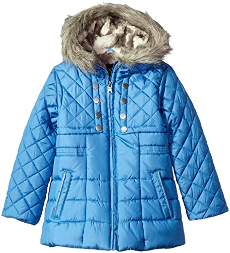 Jessica Simpson Girls' Quilted Cozy Trimmed Hooded Jacket -