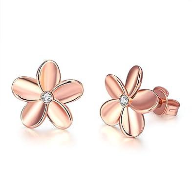 797631496560 TPHui Women S Hoop Earrings Women Earrings gold earrings earrings women 18K  Rose Gold Simple Flower Earrings