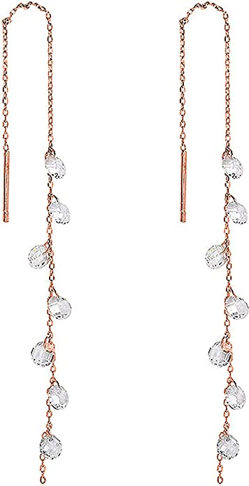 Long Stick and Circle 925 Sterling Silver Drop Earrings in a Gift Box