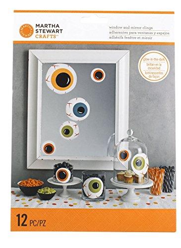 Martha Stewart M4820347 Monsters Mirror Cling, Eyeballs, 12-Pack (Martha Stewart Halloween Decor)