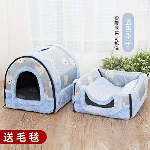 Kennel winter medium-sized small di dog house cat pet house bed washable four seasons universal yurt, bluee rabbit, L, 60cm47cm45cm