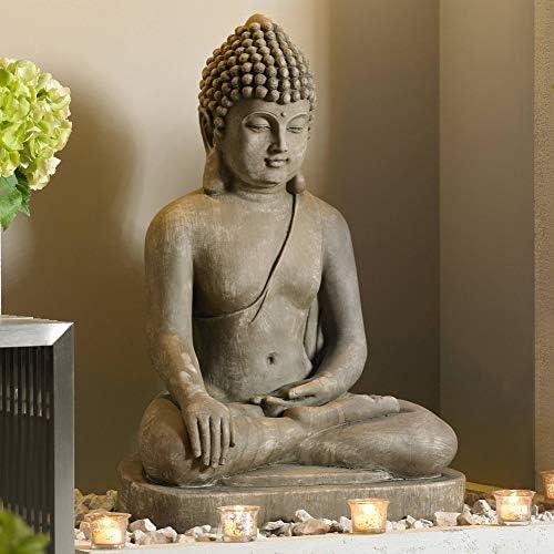 Zen Buddha Outdoor Statue 29 1/2″ High Floor Sitting Weathered