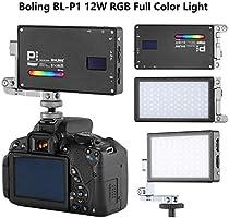 BOLING BL-P1 RGB LED Video Light 2500k-8500k Bi-Color Pocket Size On Camera Light with 9 Applicable Situation 360/° Adjustable Support System Built-in Battery