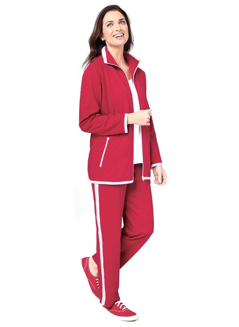 AmeriMark Two-Piece Warm Up Sweat Suit Set Contrast Stripe Pants and Zip Jacket