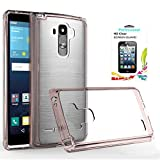 LG G Stylo Clear Case with HD Screen Protector, AnoKe [Scratch Resistant] Hard Transparent Acrylic with Rubber Silicone Bumper Hybrid Ultra Slim Crytal Protective For LG LS770 - TM Rose Gold