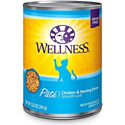 Wellness Natural Grain Free Wet Canned Cat Food, Chicken & Herring Pate, 12.5-Ounce Can - Pack Of 12