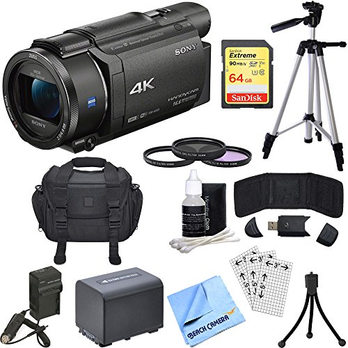Sony FDR-AX53/B 4K Handycam Camcorder Bundle includes Handycam, 55mm Filter Kit, Battery, Charger, 64GB SDXC Memory Card, Bag, Tripod, Card Reader + Wallet, Cleaning Kit, Beach Camera Cloth and More!