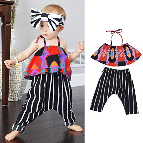 Red Monkey Jeans (TIFENNY Baby Girl Geometry Printed Strap Tops+Stripe Pants Set Outfit Clothes (2-3T,)