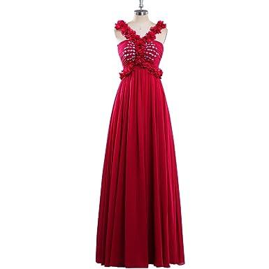 Tanyanini V Neck Long Style Chiffon Prom Dresses 2018 Pleated Crystal Floor Length Formal Evening Dress