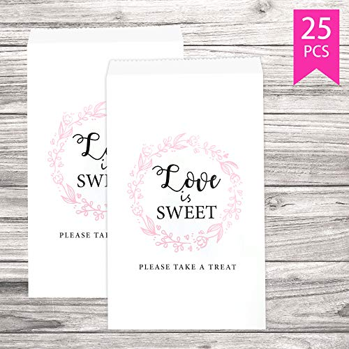 Lucky Party Wedding Favors Candy Buffet Bags – 25 Pcs 4.5 x 7.75 inches White Kraft Paper Wedding Favor Rustic Bags Good for Treat Snacks or Cookie Buffets – Please Take A Treat