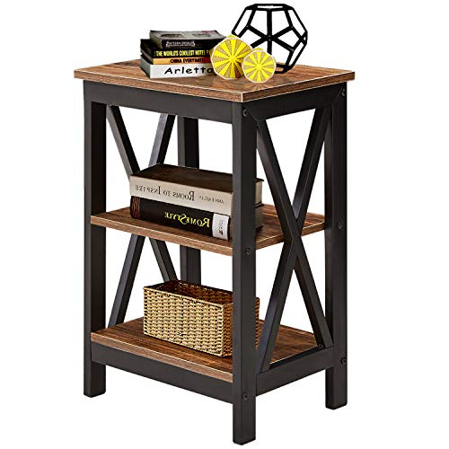 VECELO Modern Wood Night Stand/Sofa Side/End Table with Storage Shelf X-Design Versatile Nightstands Lamp Table Living Room Bedroom Furniture,Easy Assembly