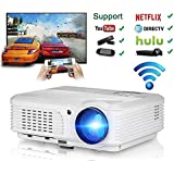 Android Projector 3600 lumens, Wireless WiFi Projector Full HD 1080p Support, LCD Led Video Home Theater Cinema Beamer with HDMI VGA USB AV TV Ports, Android System for Macbook iPhone Smartphone PC