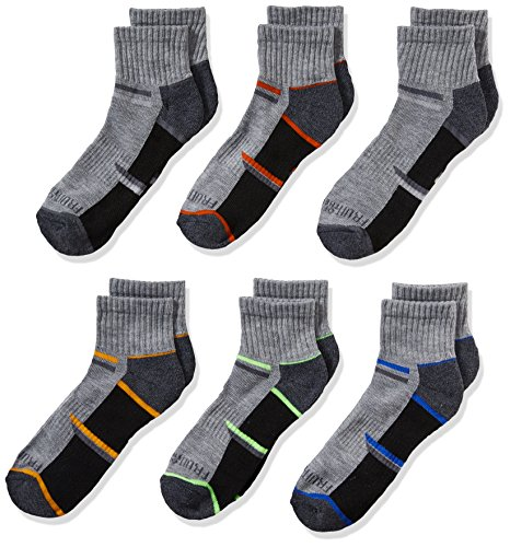 Fruit of the Loom Big Boys' 6-Pair Half Cushion Ankle Socks, Gray Assort, Shoe Size: 3–9 (Boys Socks)