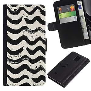 EuroTech - Samsung Galaxy Note 4 SM-N910 - Waves Pattern White Black Watercolor - Cuero PU Delgado caso Billetera cubierta Shell Armor Funda Case Cover Wallet Credit Card