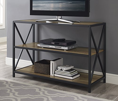 Oak Library Table - WE Furniture Wood Media Bookshelf in Rustic Oak - 40