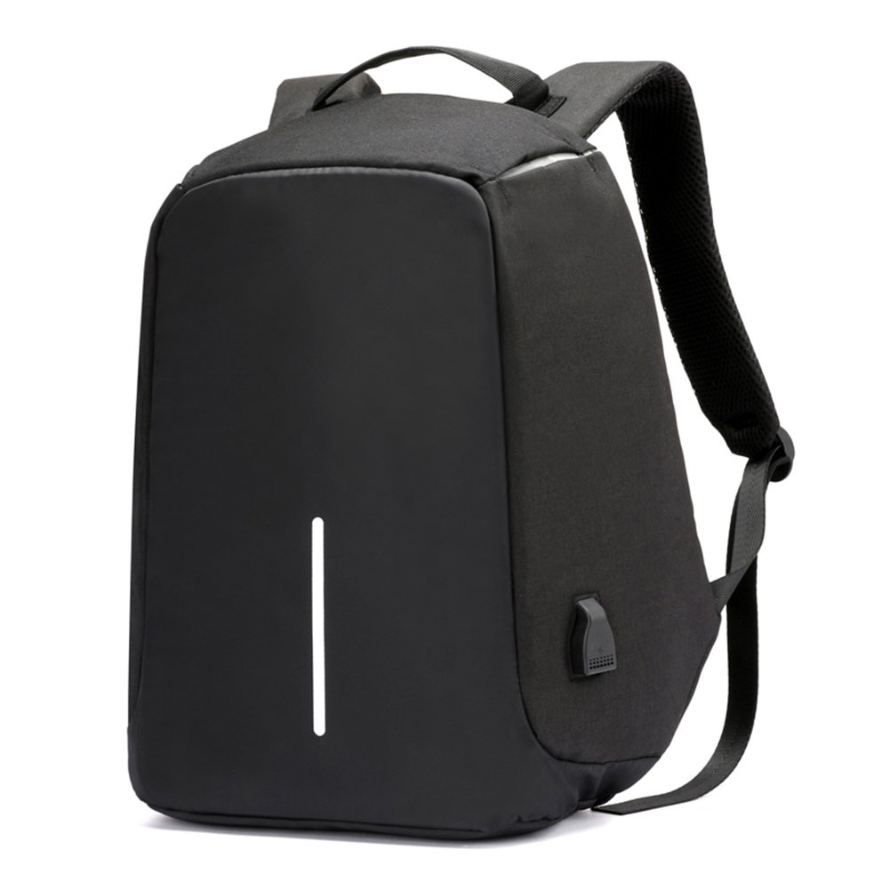 Anti-theft Laptop Backpack with USB Charging, Unisex Casual Fashion, Anti-scratch, Waterproof Night Safety School Bag, Black