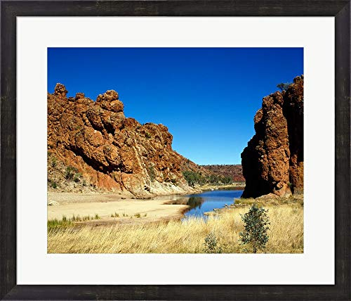 - Lake Surrounded by Rocks, Glen Helen Gorge, Northern Territory, Australia Framed Art Print Wall Picture, Espresso Brown Frame, 27 x 23 inches