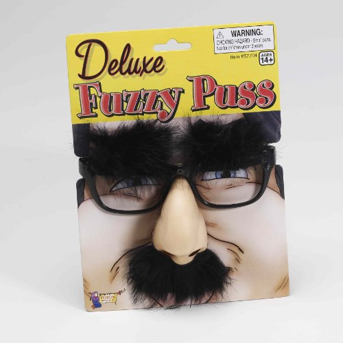 Deluxe Fuzzy Puss Costume Glasses with Attached Nose Eyebrows One Size