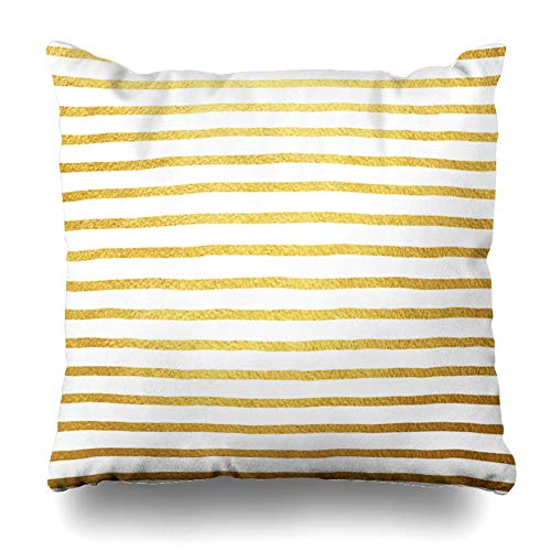 (Ahawoso Throw Pillow Cover Wealth Yellow Foil Golden Stripes White Luxury Abstract Brush Gold Strip Pattern Drawn Hand Shiny Home Decor Zippered Pillowcase Square Size 18 x 18 Inches Cushion Case)