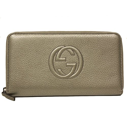 Gucci Soho Gray Leather Large Oversized Zip Around Wallet...