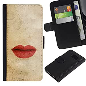EuroTech - Samsung Galaxy S6 SM-G920 - Lips Pastel Red Love Kiss Vignette - Cuero PU Delgado caso Billetera cubierta Shell Armor Funda Case Cover Wallet Credit Card