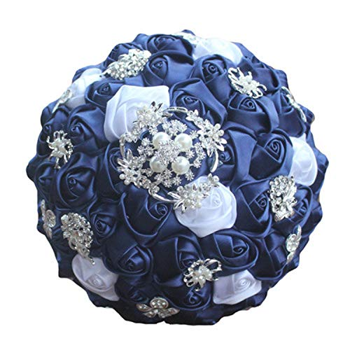 Fantastic-Journey Diamond Navy Blue Bridal Brooch Wedding Bouquets De Noiva de Mariage Holding Satin Bouquets,18cm as pic