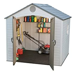 Garden and Outdoor LIFETIME 6406 8 X 5 Ft Outdoor Storage Shed with Window-Desert, Mixed Colors outdoor storage sheds