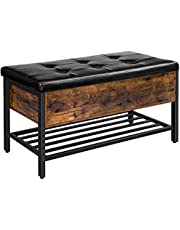 HOOBRO Storage Bench, Storage Ottoman with Padded Seat and Metal Shelf, Flip Top Toy Box Storage Chest, Bed End Stool, Shoe Bench in Bedroom, Hallway, Living Room, Steel Frame, BF98CW01
