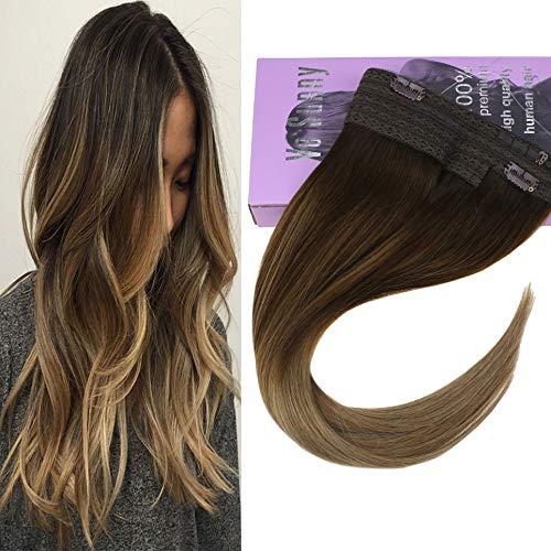 VeSunny 16inch Secret Halo Extensions Color #4 Dark Brown Fading to #10 Golden Brown Mixed #16 Golden Blonde Remy Halo Hair Extensions Human Hair Blonde 11inch Width 80G/Set