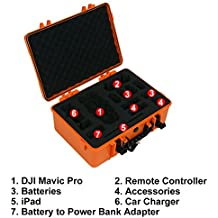 HUL Military Spec Waterproof Carrying Case for DJI Mavic Pro with iPad Mini and 4 Extra Batteries (Orange)