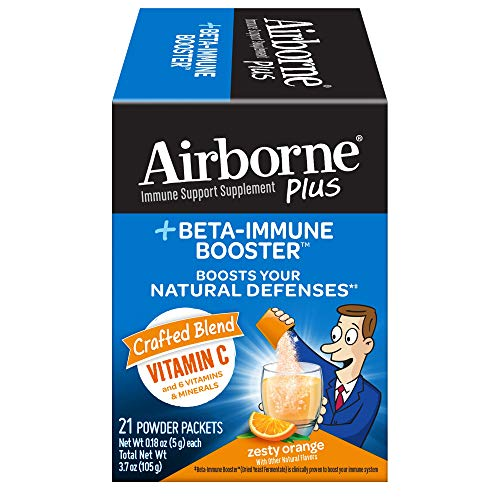 Airborne Plus Beta-Immune Booster Zesty Orange Powder Packets, 21 Count - Vitamin C Immune Support Supplement