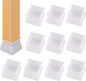 Chair Leg Caps Floor Protector - Furniture Table Feet Clear Silicone Covers for Square Furniture Table Feet Covers Prevents Scratches and Noise Without Leaving Marks (16 PCS)