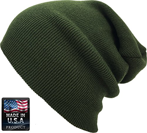Olive Mens Beanie (KBETHOS SKIHAT-Long OLV Thick Beanie Skully Slouchy & Cuff Winter Hat Made In USA)