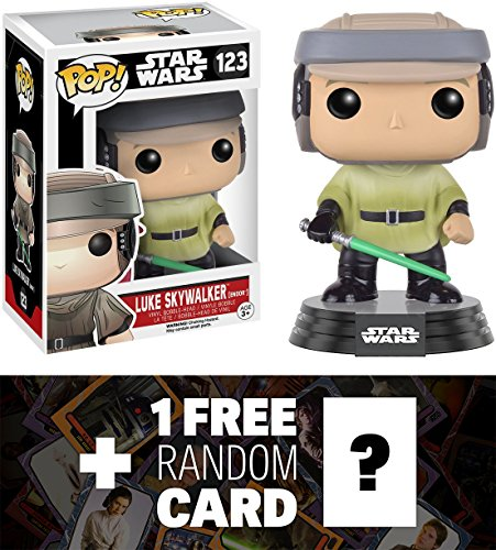 Endor Luke Skywalker (Luke Skywalker (Endor): Funko POP! x Star Wars Vinyl Bobble-Head Figure w/ Stand + 1 FREE Official Star Wars Trading Card Bundle (101066))