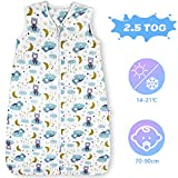 Lictin Winter Baby Sleeping Bag - 2.5 Tog Baby Wearable Blanket Sleeping Sack Baby Swaddle Blanket Sack with Adjustable Length 70-90cm for Infant Toddler 3 to 18 Months