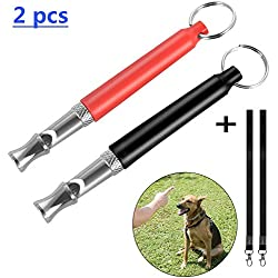 Seafirst Adjustable PitchDog Training Whistle for Stop Barking, Dog Bark Control Whistle with Lanyard Strap– Ultrasonic Patrol Sound Repellent Repeller Dog Training Behavior Aid (2 pcs)