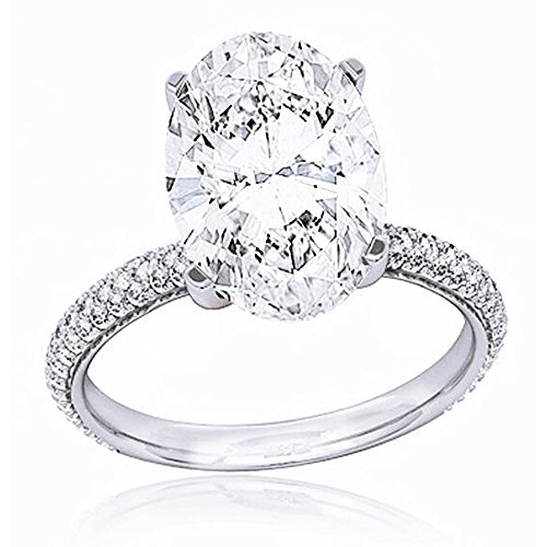 King of Jewelry Natural, Not Enhanced, Oval Cut 3-Row Micro Pave Diamond Engagement Ring, G-Color, VS2 Clarity - GIA Certified (yellow-gold, 2.60) 18k Yellow Gold Diamond Match