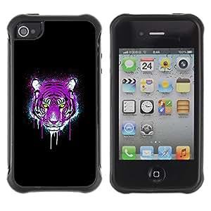 Fuerte Suave TPU GEL Caso Carcasa de Protección Funda para Apple Iphone 4 / 4S / Business Style Neon Pink Purple Tiger