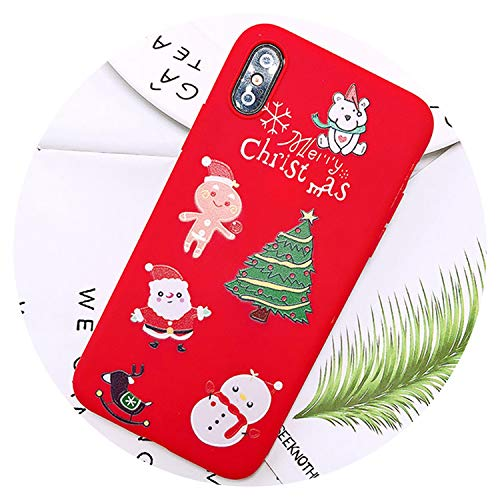 Merry Christmas Tree Santa Claus Gift Happy New Year Phone Case Cartoon Silicone for iPhone 8 7 Plus 6 5S Se 6S X Xr Xs Max Case,Red 1,for iPhone Xs