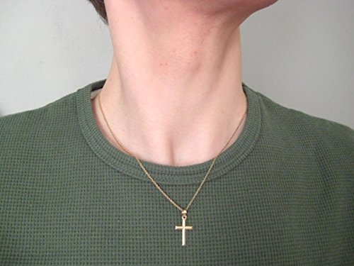 14K Yellow Gold Classic and Traditional Beveled Cross Charm Pendant