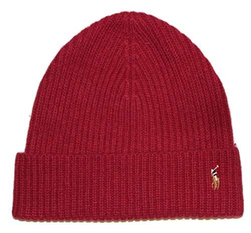 Polo Ralph Lauren Mens Pony Logo Skull Cap Beanie Hat (One Size, Red)