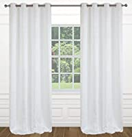 LJ Home Fashions Raindrops Abstract Floral Crushed Fabric Grommet Curtain Panels (Set of 2) 54x95-in, White