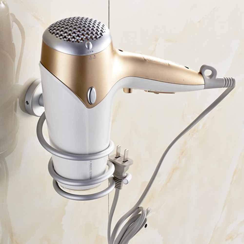 Badezimmer Wand-Haartrockner aus Edelstahl Badezimmer Regalaufbewahrung Haartrocknerhalter Trocknen Styling St/änder Platzsparend