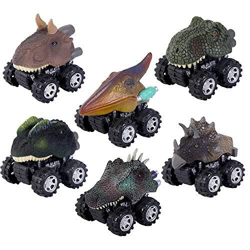 ZHMY Dinosaur Toys, Pull Back Dinosaur Cars, Creative Gifts for 3-12 Year Old Boys Girls, 6-Pack (Dinosaur) ()
