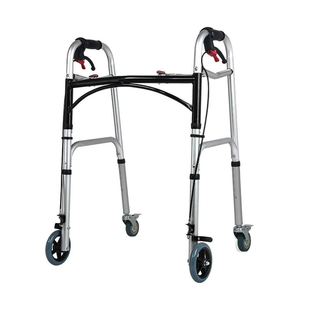 移動歩行支援 高齢者のための車輪と肥満の頑丈な折りたたみ式歩行器 - 高齢者の調節可能な高さのための回転式回転式車輪 - 携帯用移動補助具を備えた成人用歩行器 リハビリ補助   B07QPDSR6B