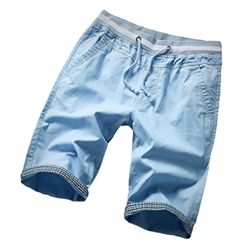 cheap Generic Men's Plaid Regular Fit Expandable-Waist Drawstring Shorts hot sale