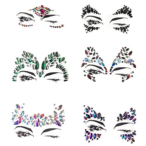 MineSign 6 Pack Face Jewels Festival Tattoo Set Face Gems Glitter Bindi Costume Makeup Rhinestone Eyes Body Rave Pasties for Party Roller (Red Blue Black)