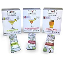 Minute Mixology Cocktail Mixers - Low Calorie, All Natural Ingredients - Drink Mix for Liquor/Spirits and Non-Alcoholic Beverages (Fiesta Pack: Margarita, Spicy Margarita & Michelada, 24 Packets)
